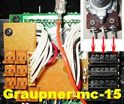 zapojení otočného potenciometru na Tx Graupner mc-15